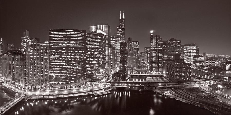 Architecture Photograph - Chicago River Panorama B W by Steve Gadomski