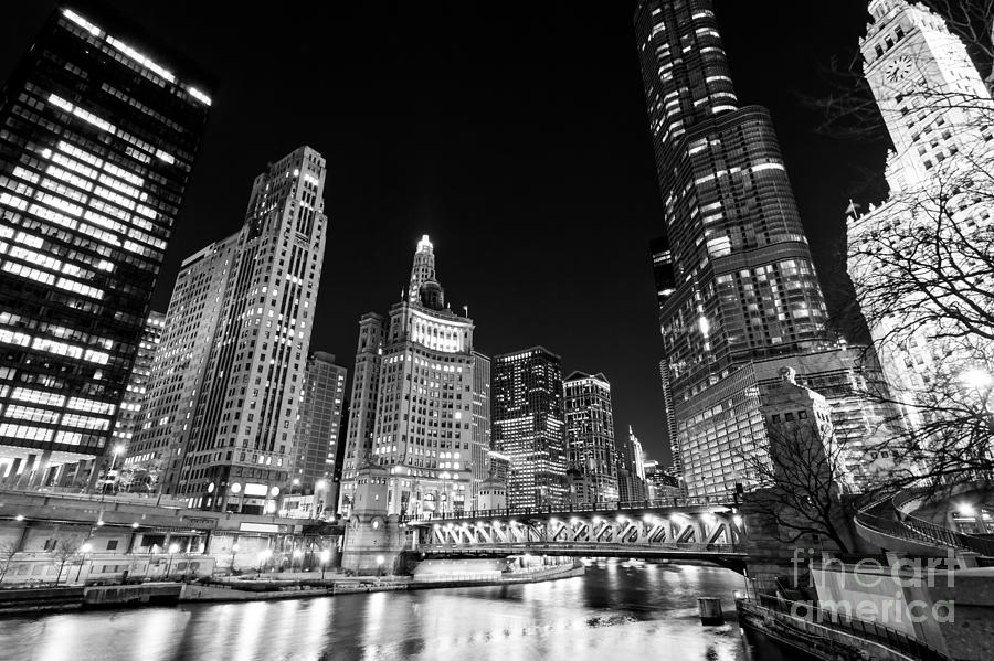 Chicago River Skyline At Night In Black And White Photograph