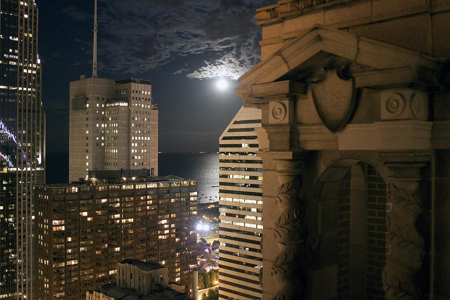 Chicago Photograph - Chicago Rooftop On Moonlit Night by Christopher Purcell