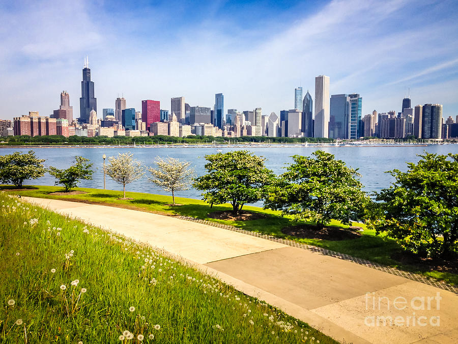 America Photograph - Chicago Skyine And Lakefront Trail by Paul Velgos