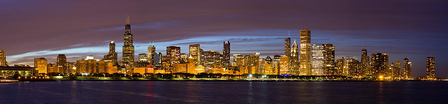 Chicago Photograph - Chicago Skyline At Dusk by Twenty Two North Photography