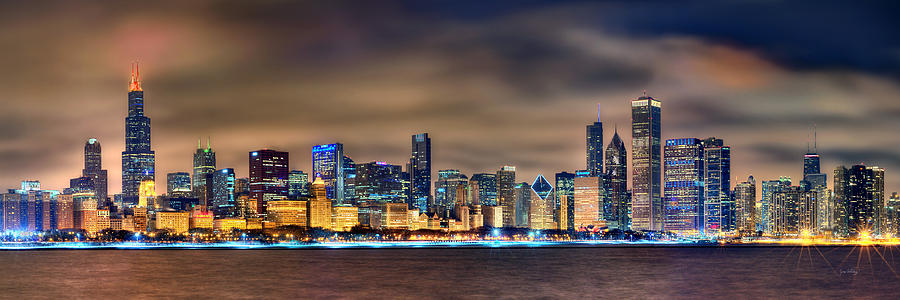 Chicago Photograph - Chicago Skyline at NIGHT Panorama Color 1 to 3 Ratio by Jon Holiday