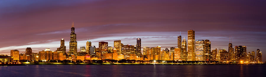 Chicago Skyline At Night Photograph By Twenty Two North Photography