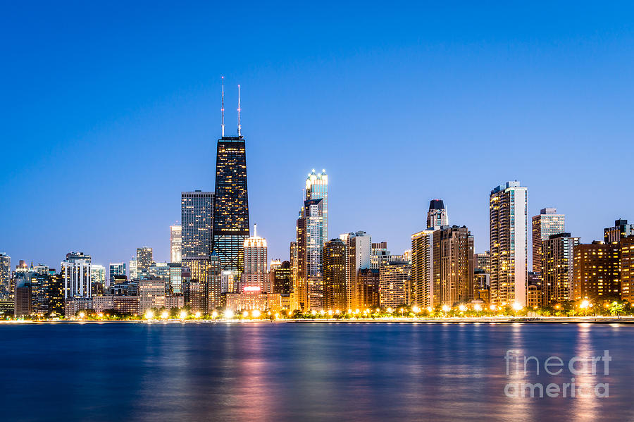 America Photograph - Chicago Skyline At Twilight by Paul Velgos