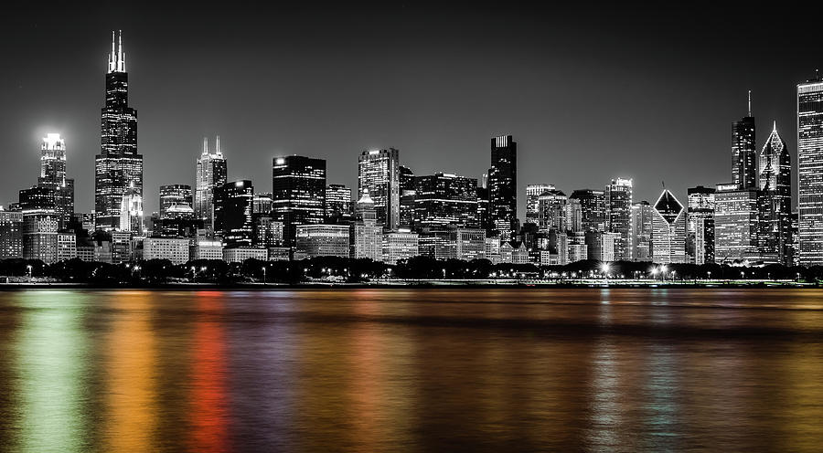 Chicago Photograph - Chicago Skyline - Black And White With Color Reflection by Anthony Doudt