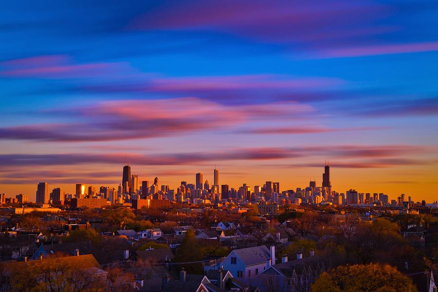 Chicago Photograph - Chicago Skyline Blend by Steve Kuzminski