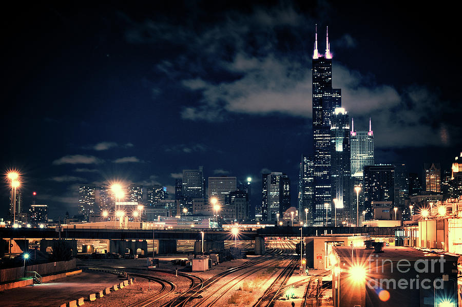 Chicago Photograph - Chicago skyline cityscape at night by Bruno Passigatti