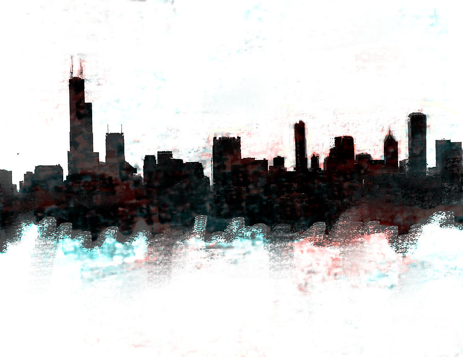 Chicago Painting - Chicago Skyline  by Enki Art