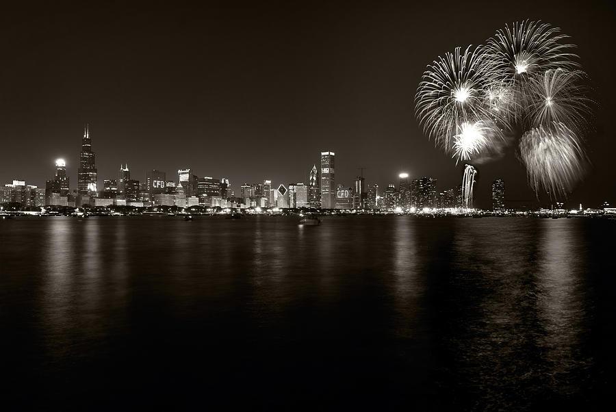 4th Photograph - Chicago Skyline Fireworks Bw by Steve Gadomski