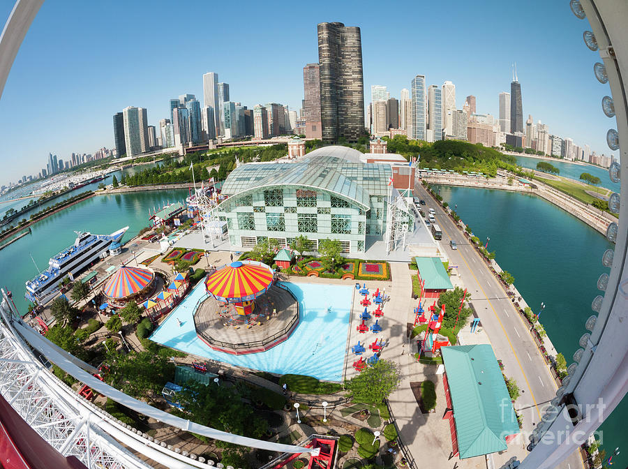 Chicago Skyline Photograph - Chicago Skyline From The Navy Pier Ferris Wheel by Felix Choo