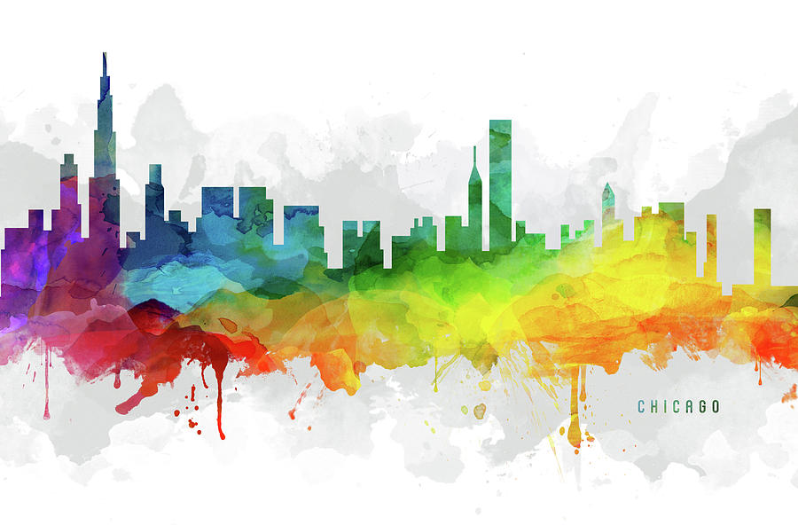 Chicago Digital Art - Chicago Skyline Mmr-usilch05 by Aged Pixel