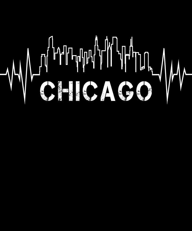 Chi-town Digital Art - Chicago Skyline Nurse Heartbeat Apparel by Michael S