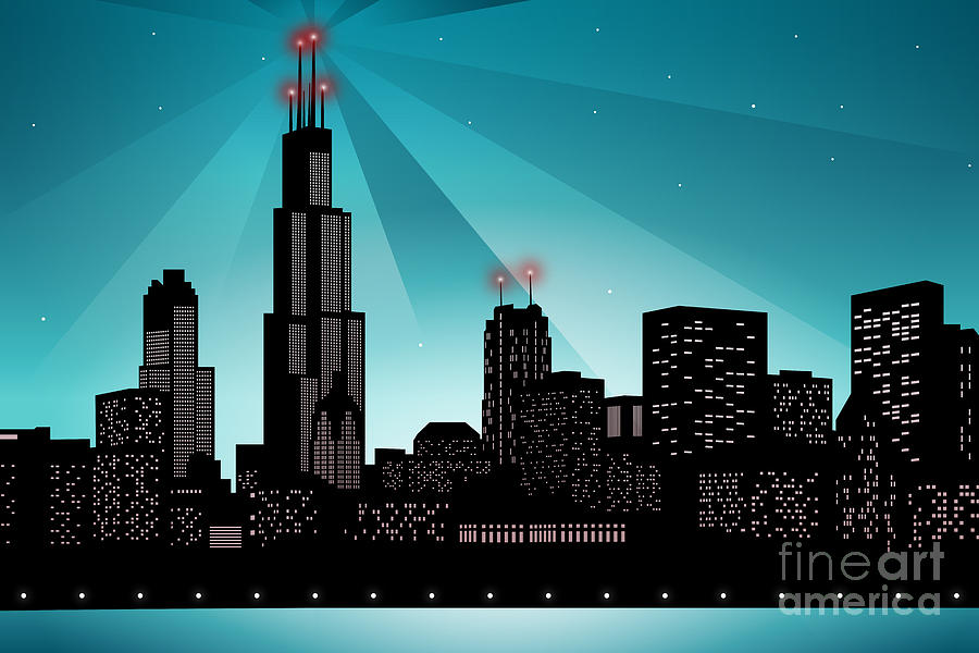 Chicago Digital Art - Chicago Skyline by Sandra Hoefer