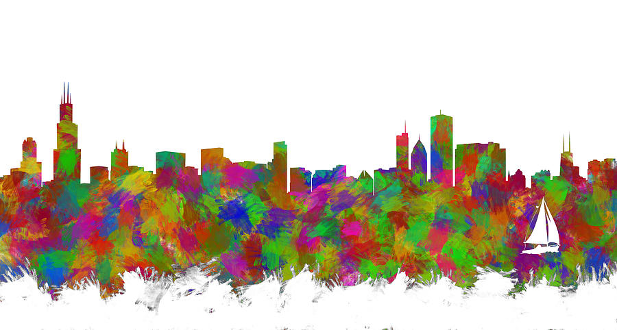 chicago skyline silhouette i digital art by ricky barnard