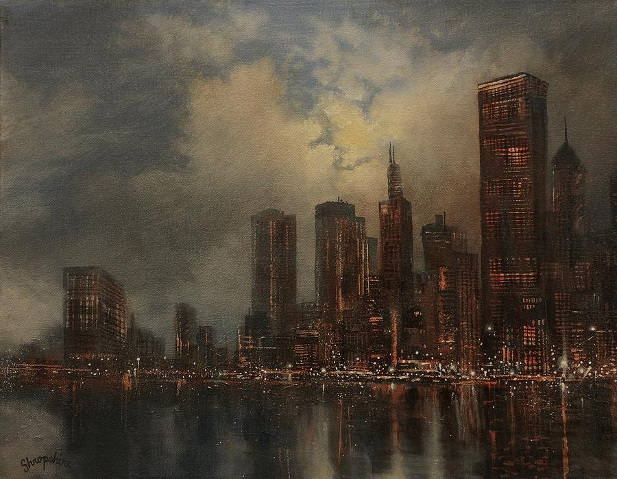 Chicago Painting - Chicago Skyline by Tom Shropshire