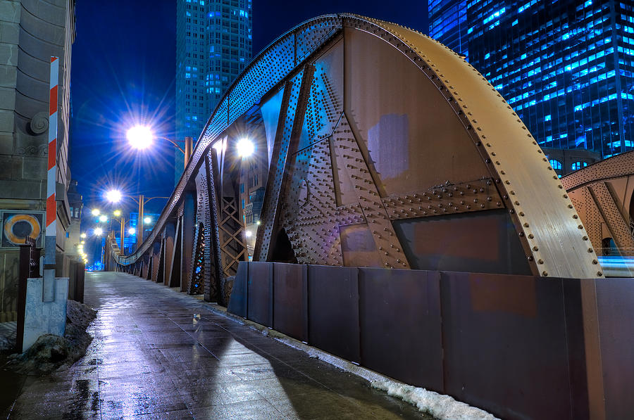 Bridge Photograph - Chicago Steel Bridge by Steve Gadomski