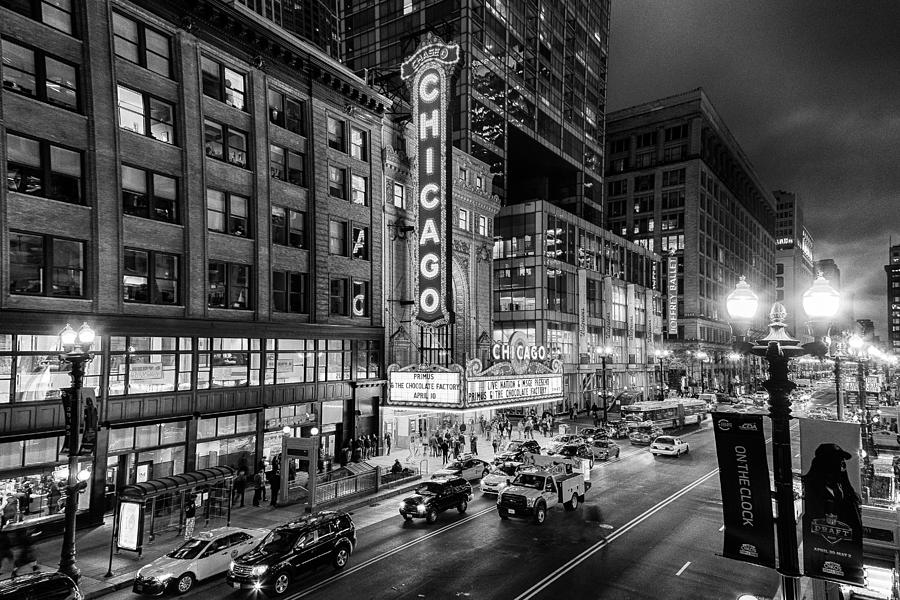 Chicago Photograph - Chicago Theater In Black And White by Terri Morris