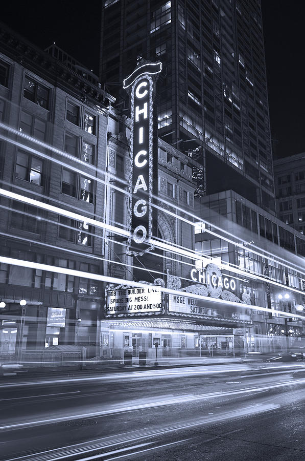 Chicago Theater Marquee B And W Photograph