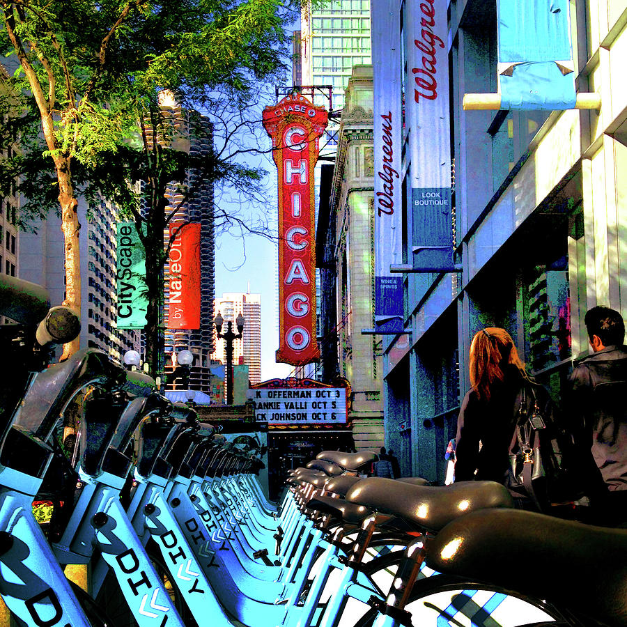 Chicago Theatre City Bikes by Patrick Malon