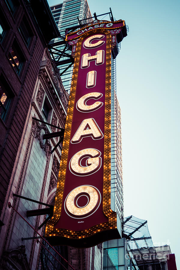 America Photograph - Chicago Theatre Marquee Sign Vintage by Paul Velgos