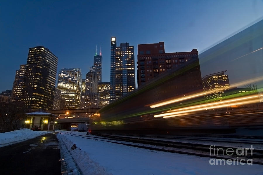 Chicago Skyline Photograph - Chicago Train Blur by Sven Brogren