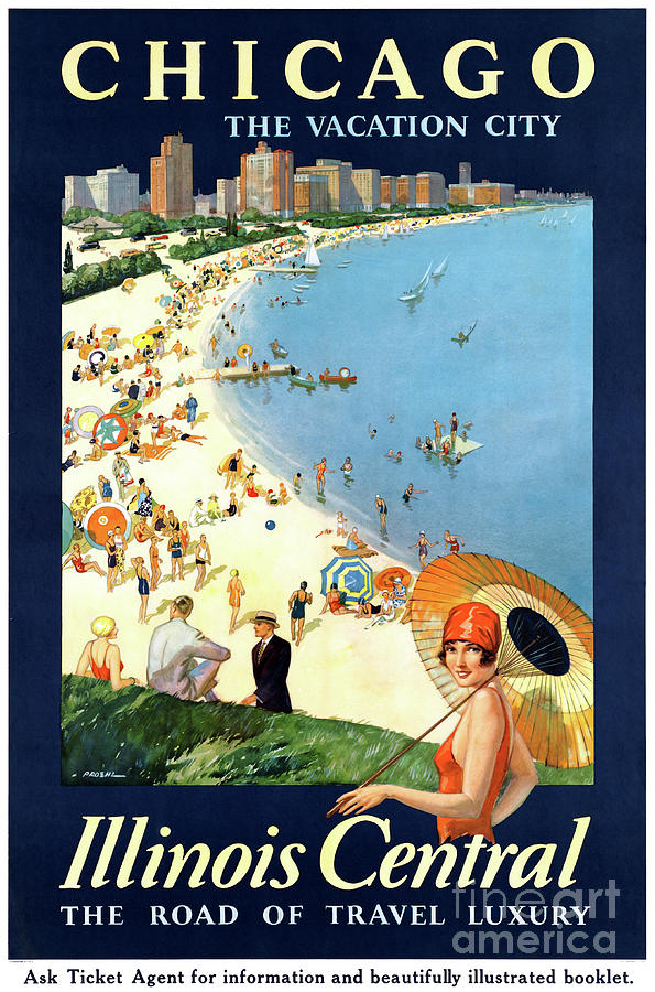 Vintage Mixed Media - Chicago Vacation City Vintage Poster Restored by Carsten Reisinger
