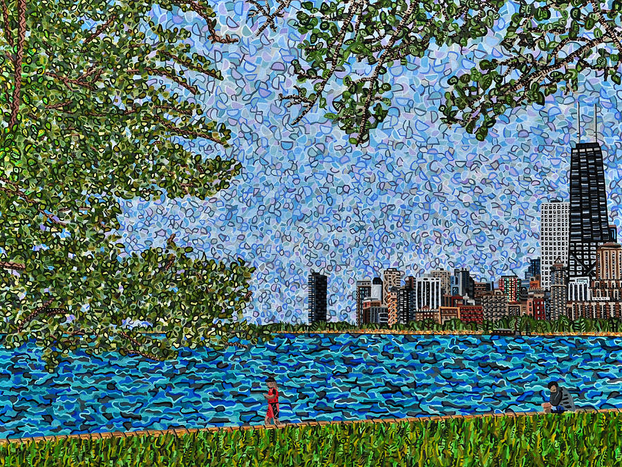 Chicago Painting - Chicago - View From Lakefront Trail by Micah Mullen