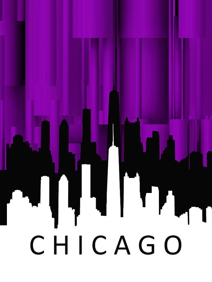 Chicago Digital Art - Chicago Violet Vertical  by Alberto RuiZ