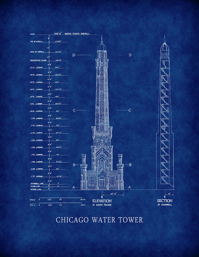 Chicago water tower blueprint digital art by daniel hagerman chicago digital art chicago water tower blueprint by daniel hagerman malvernweather Image collections
