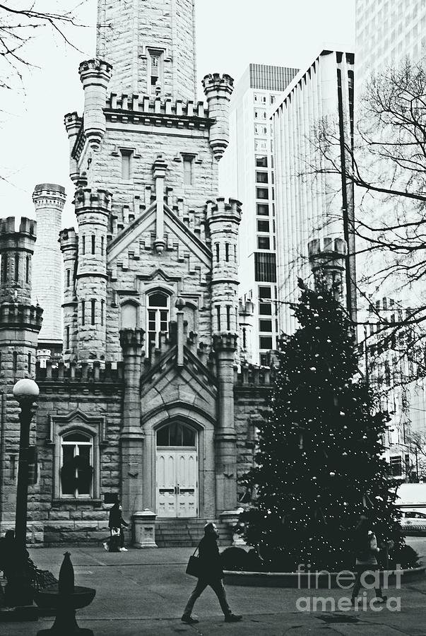Chicago Water Tower Christmas Tree - Monochrome by Frank J Casella