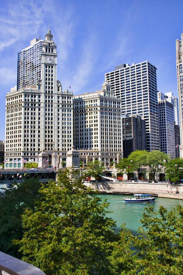 Chicago Digital Art - Chicago With Boat by Paul Bartoszek