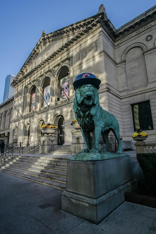 Chicago Photograph - Chicagos Art Institute With Cubs Hat by Sven Brogren