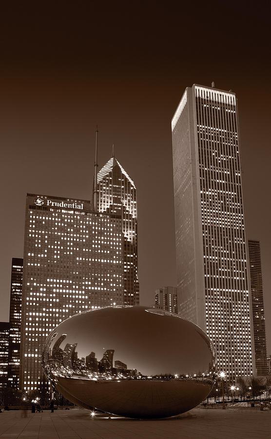 Black Photograph - Chicagos Millennium Park Bw by Steve Gadomski