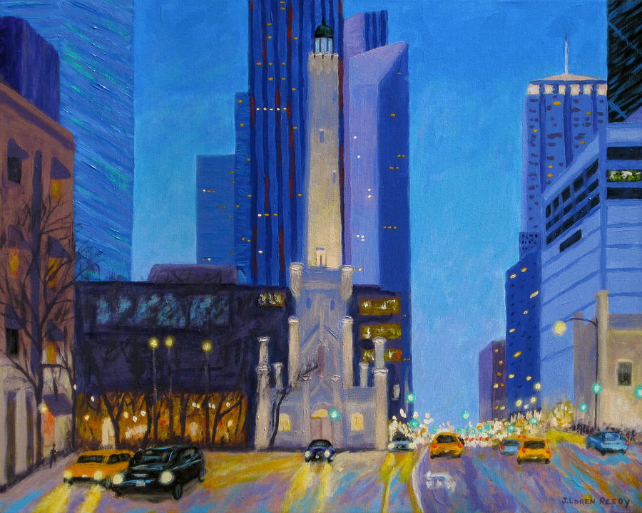 Chicago Water Tower Painting - Chicagos Water Tower At Dusk by J Loren Reedy