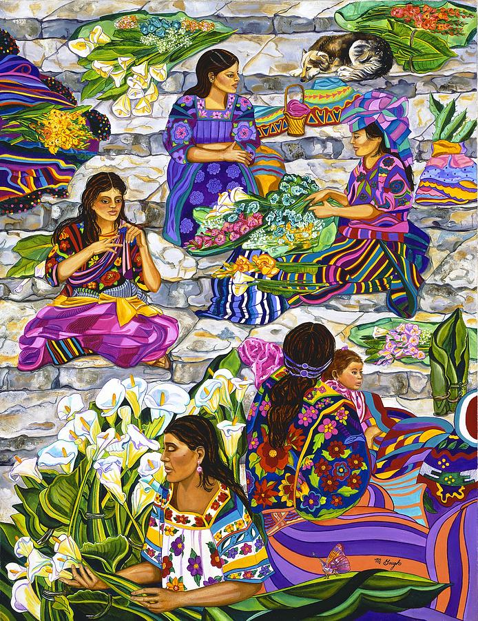 People Painting - Chichicastenango Flower Market by Mary Ann Gough