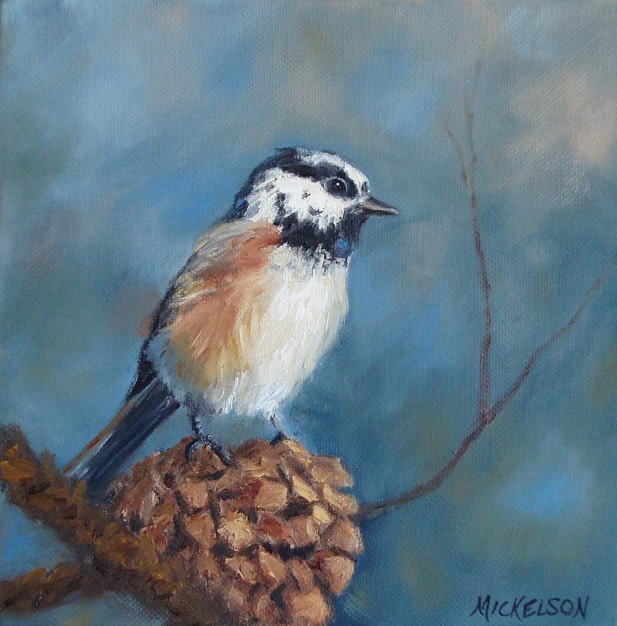 Chickadee Painting - Chickadee 2 by Debra Mickelson