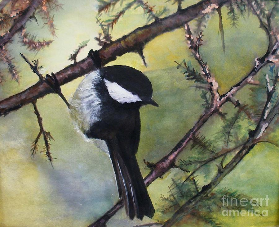 Chickadee Painting - Chickadee Autumn by Sibby S