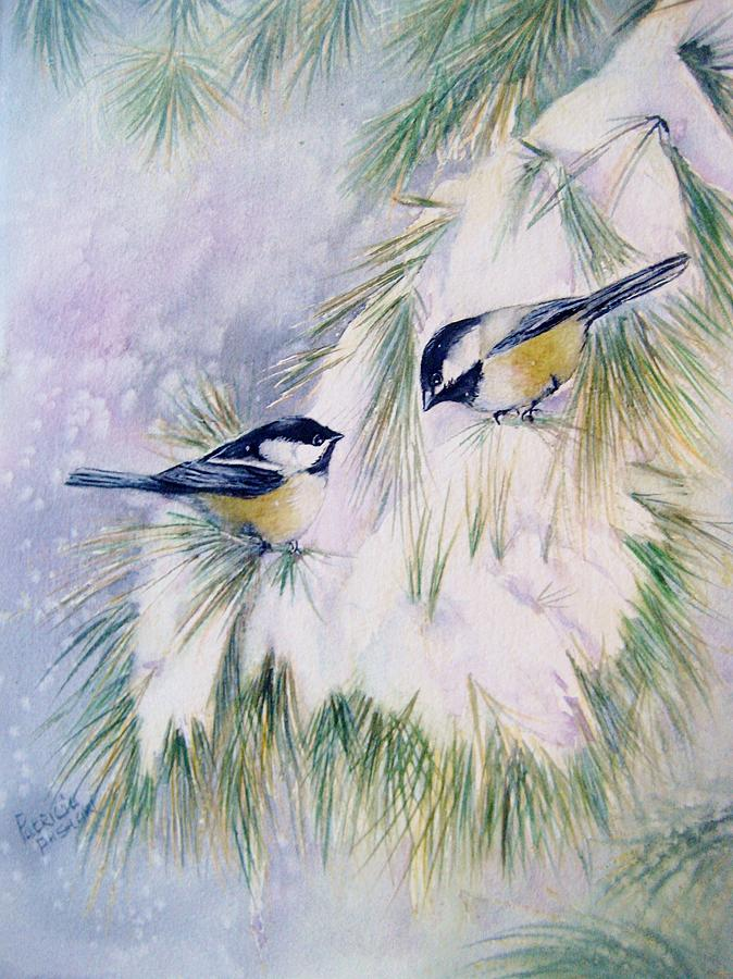 Snow Painting - Chickadee Chat by Patricia Pushaw