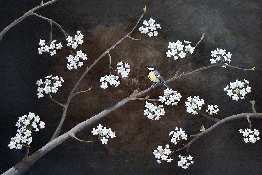 Pear Painting - Chickadee In A Bradford Pear by Amanda Hooser