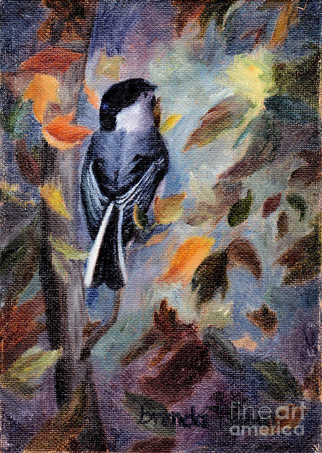Bird Painting - Chickadee In The Fall by Brenda Thour