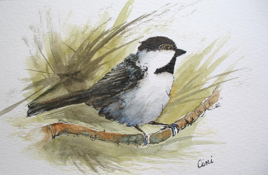 Bird Painting - Chickadee by Lisa Cini