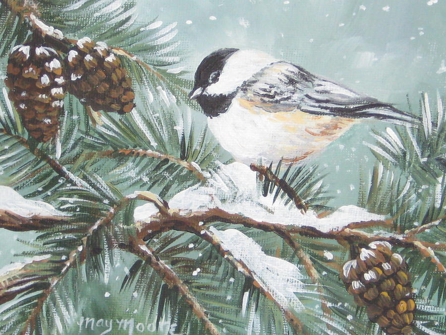 Birds Painting - Chickadee by May Moore