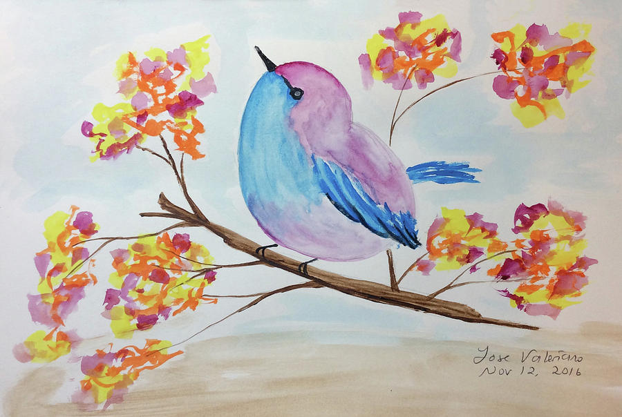 Watercolor Painting - Chickadee On A Branch With Head Up by M Valeriano