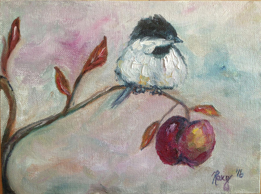 Chickadee Painting - Chickadee On An Apple Tree by Roxy Rich