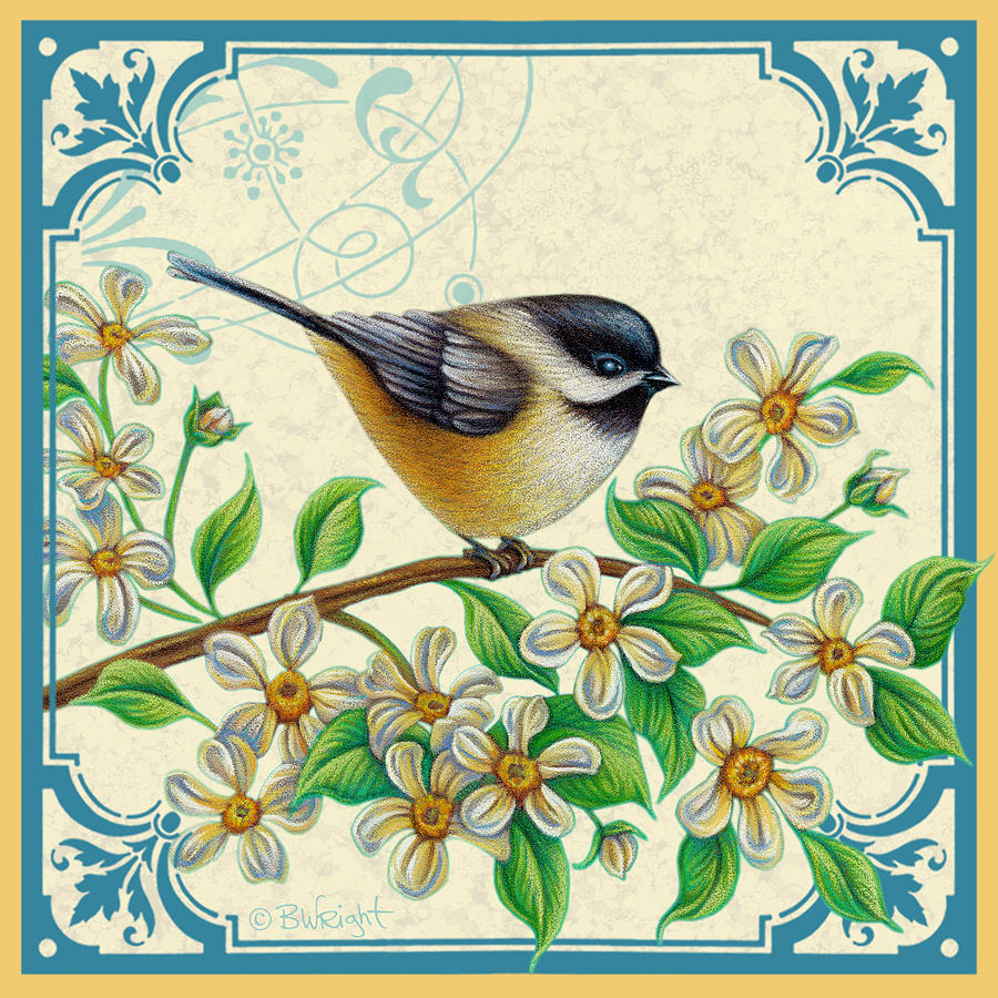 Chickadee on Apple Blossoms with Ornament by Beth Wright