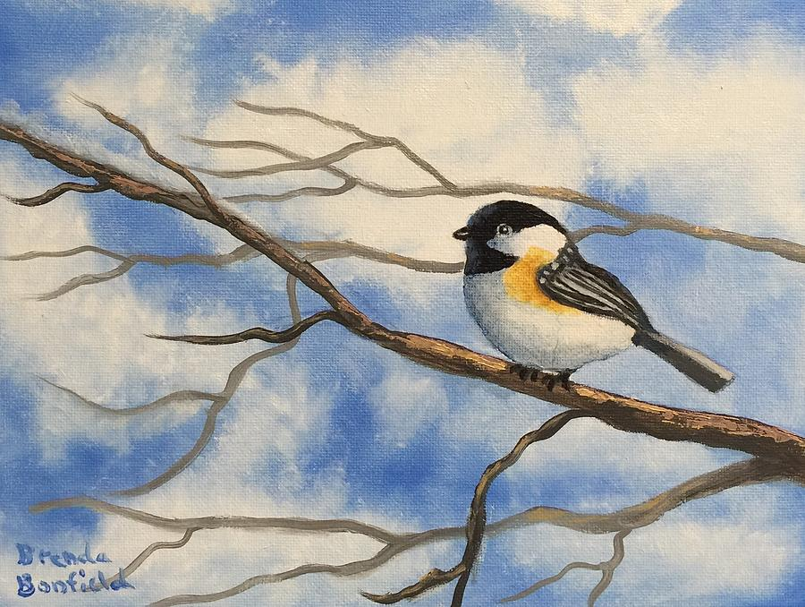 Chickadee on Branch by Brenda Bonfield