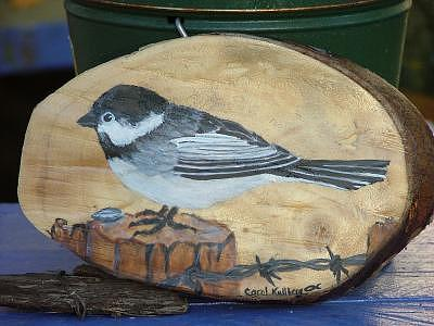 Chickadee Painting - Chickadee On Wood  by Carol Kullberg