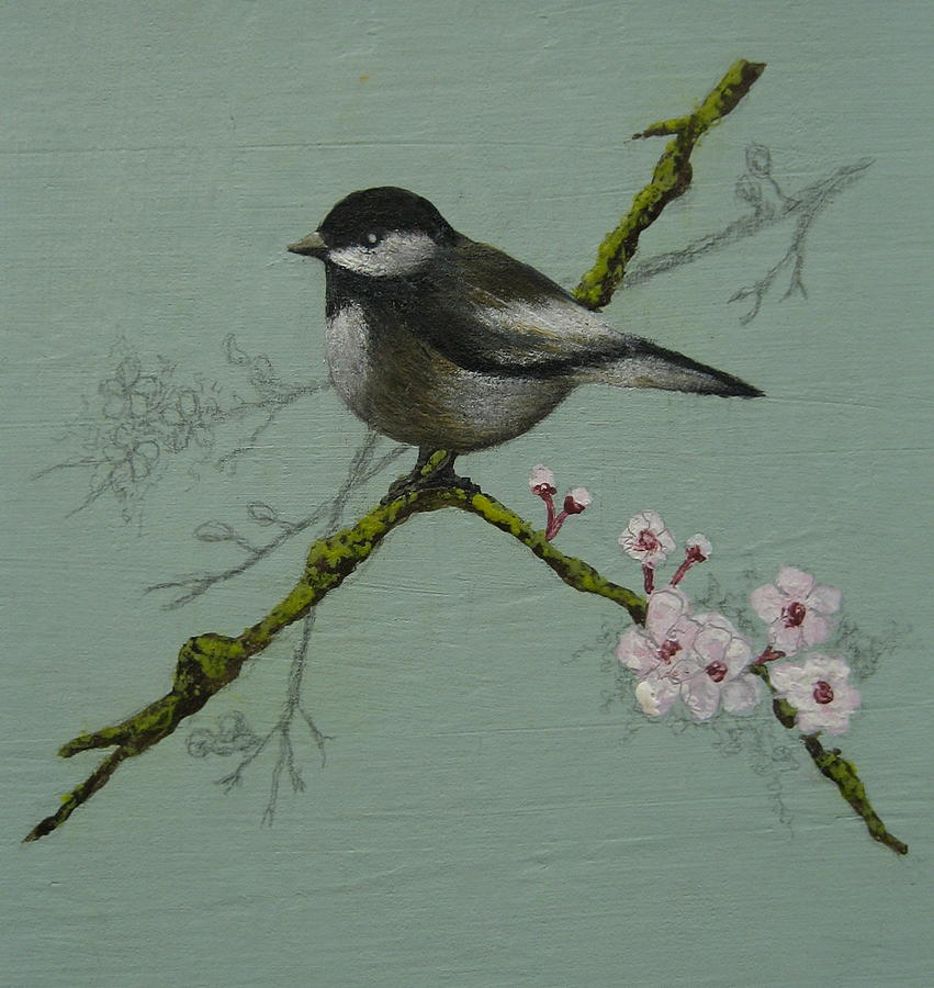 Miniature Painting - Chickadee by Victoria Heryet