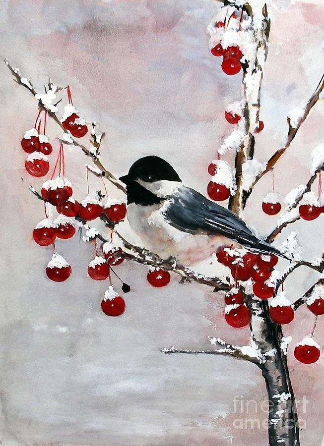 Chickadee Painting - Chickadee With Red Berries by Sibby S