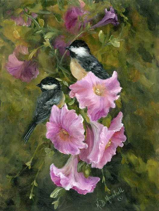 Petunias Print - Chickadees And Lavender Petunias by Kathleen Marshall McConnell